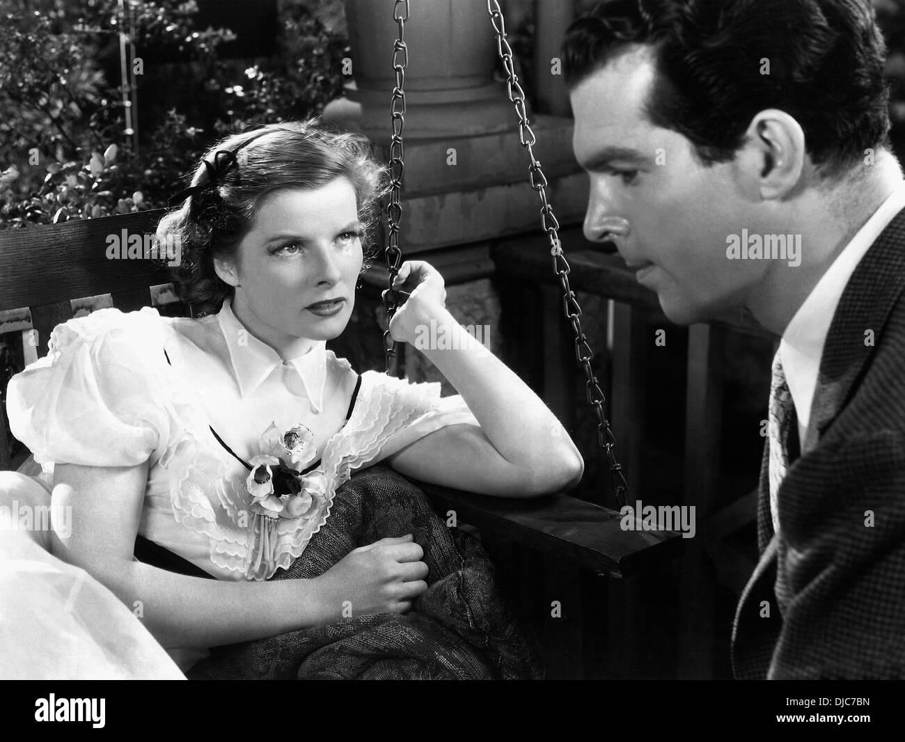 Katharine Hepburn and Fred MacMurray on-set of the Film, Alice Adams, 1935 - Stock Image