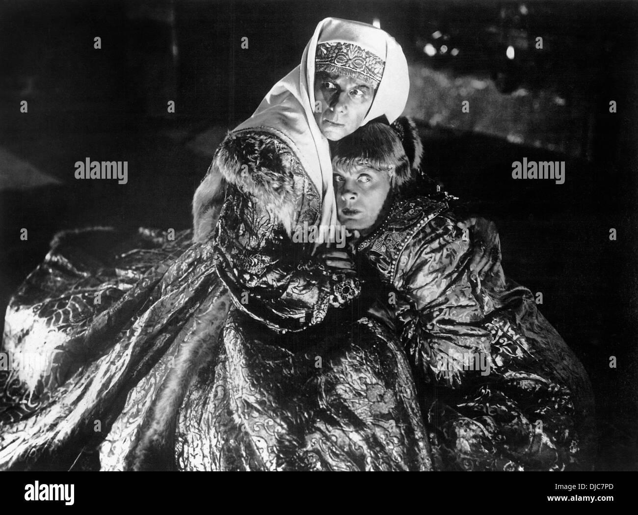 Lyudmila Tselikovskaya and Nikolai Cherkassov on-set of the Film, Ivan the Terrible Part II (aka Ivan Groznyy II), 1945 - Stock Image