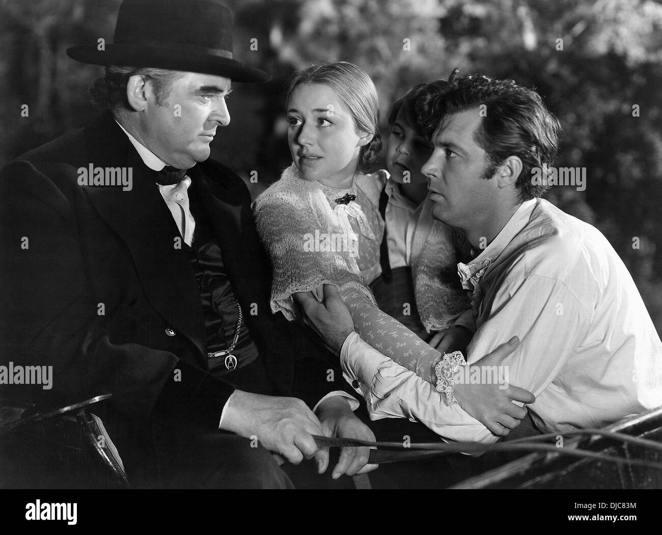 Edward Arnold, Anne Shirley and James Craig on-set of the Film, The Devil and Daniel Webster (aka All That Money Can Buy), 1941 - Stock Image