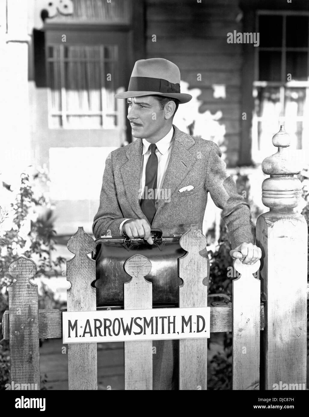 Ronald Colman on-set of the Film, Arrowsmith, 1931 - Stock Image