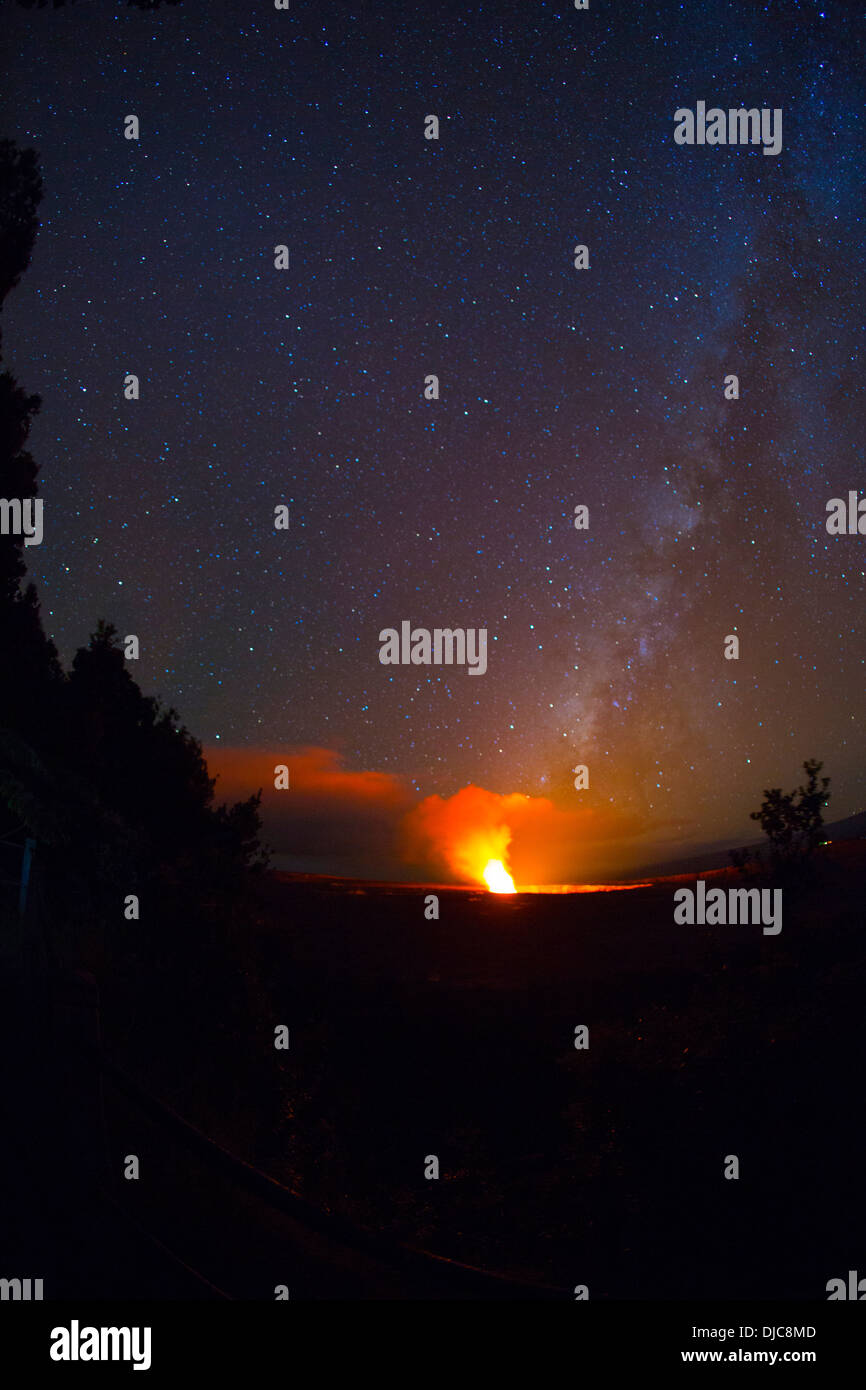 Halemaumau Crater with Milky Way, Kilauea Volcano, HVNP, Big Island of Hawaii - Stock Image