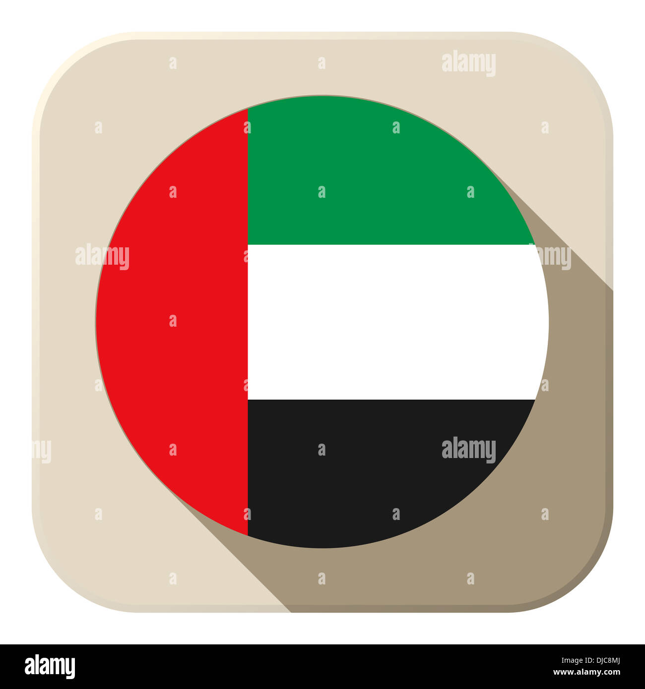 Vector - United Arab Emirates Flag Button Icon Modern - Stock Image