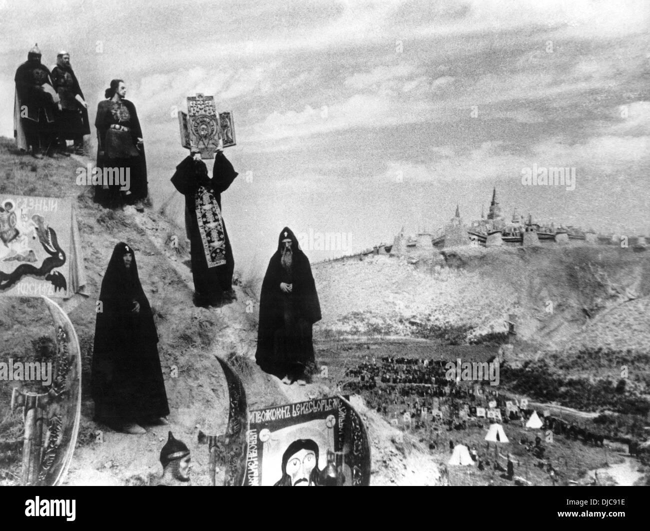 Nikolai Cherkassov on-set of the Film, Ivan the Terrible (aka Ivan Groznyy I), 1944 - Stock Image