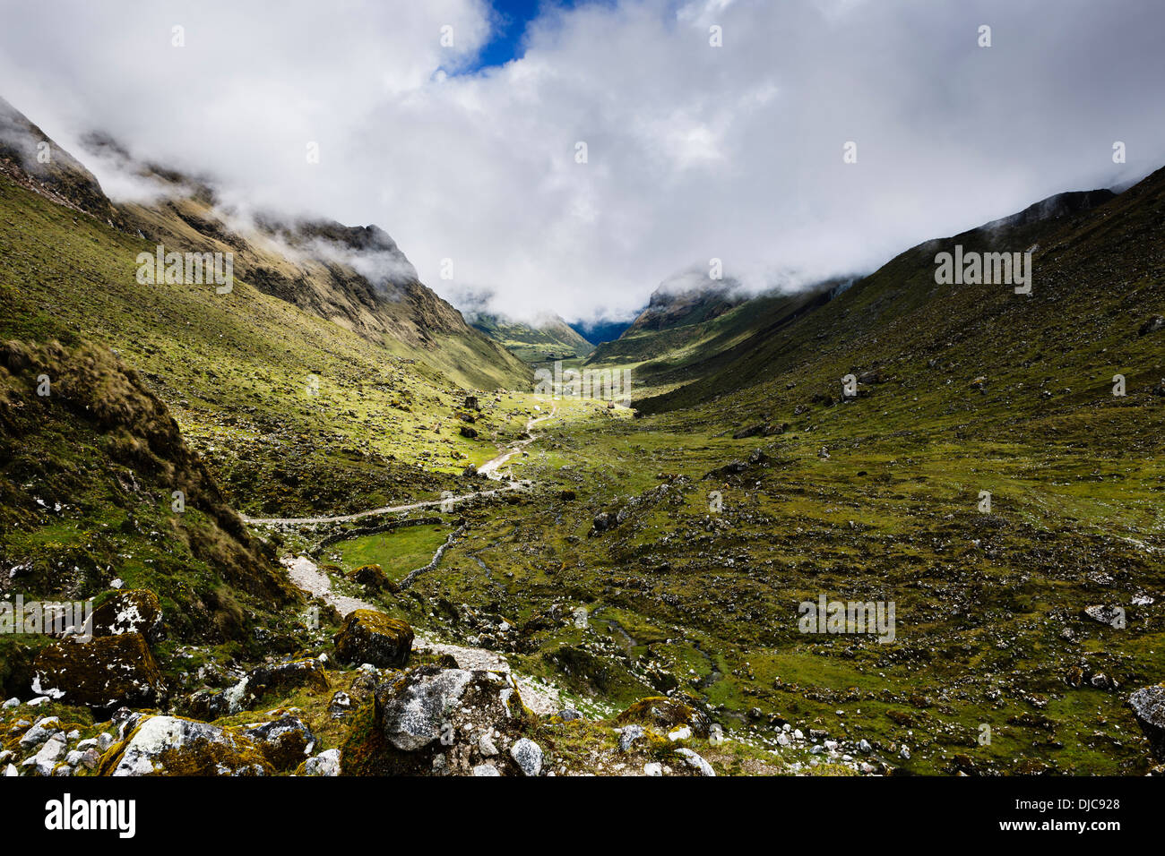 Scenery from along the route of the Salkantay Trek in the Cuzco Region of Peru. - Stock Image