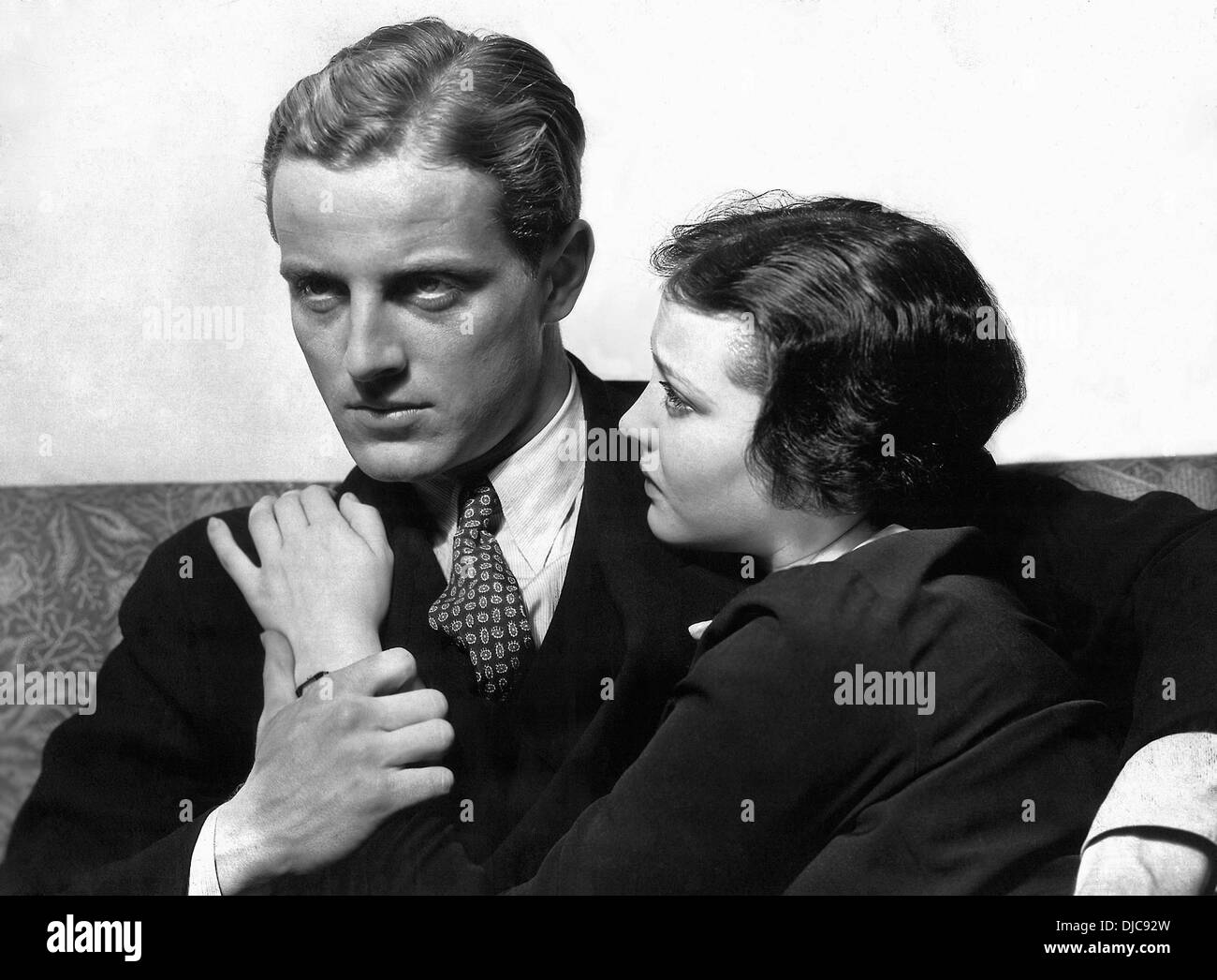 Phillips Holmes and Sylvia Sidney on-set of the Film, An American Tragedy, 1931 - Stock Image