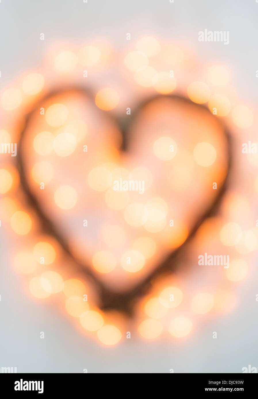 Out of focus Heart shaped Christmas decoration - Stock Image