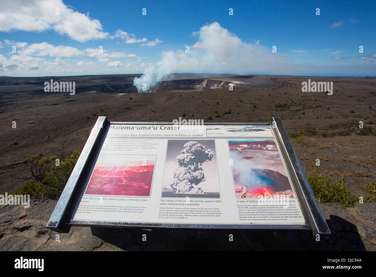 Halemaumau Crater, Kilauea Volcano, HVNP, Big Island of Hawaii - Stock Image