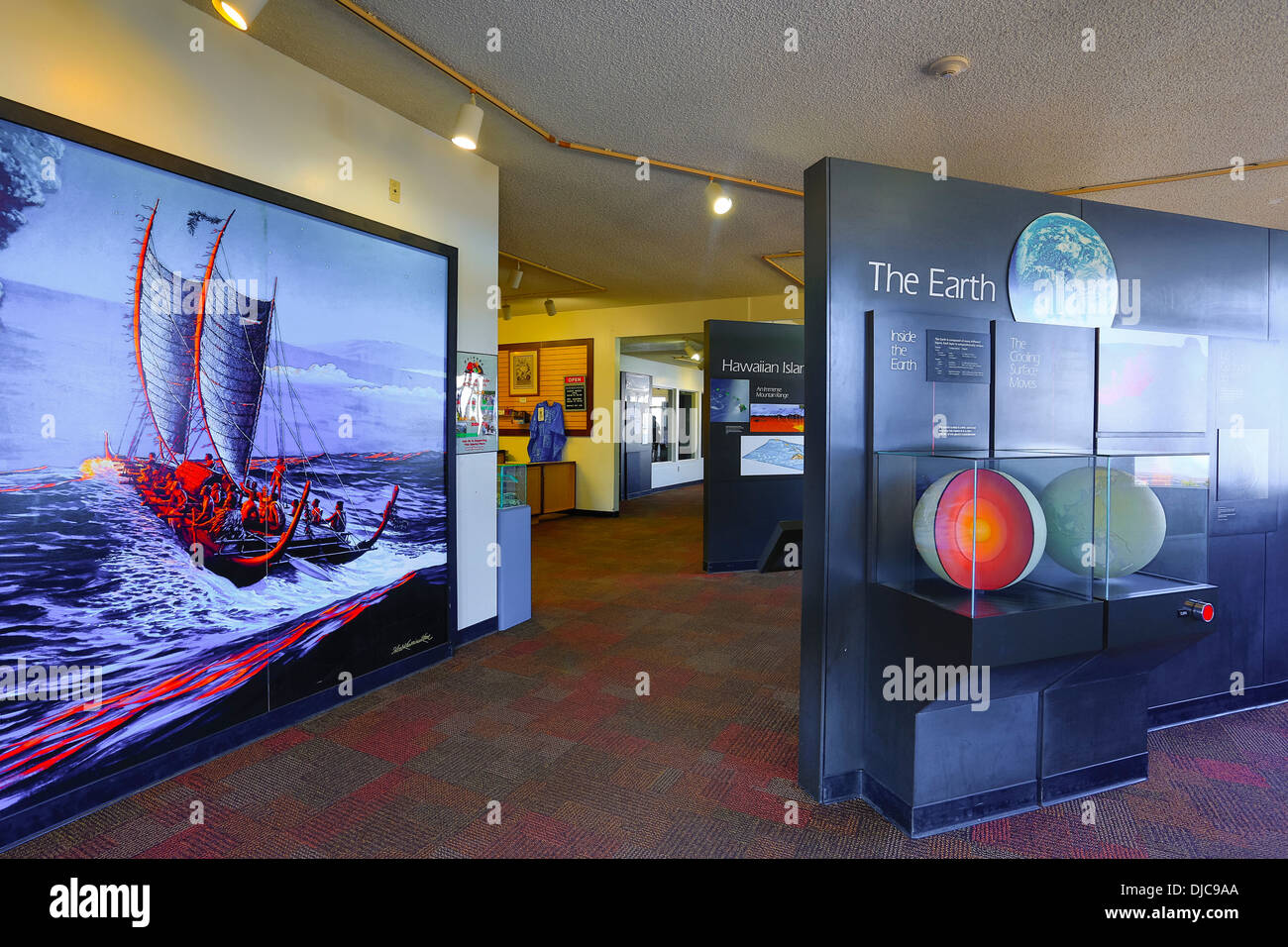 Jagger Museum, Halemaumau Crater, Kilauea Volcano, HVNP, Big Island of Hawaii Stock Photo