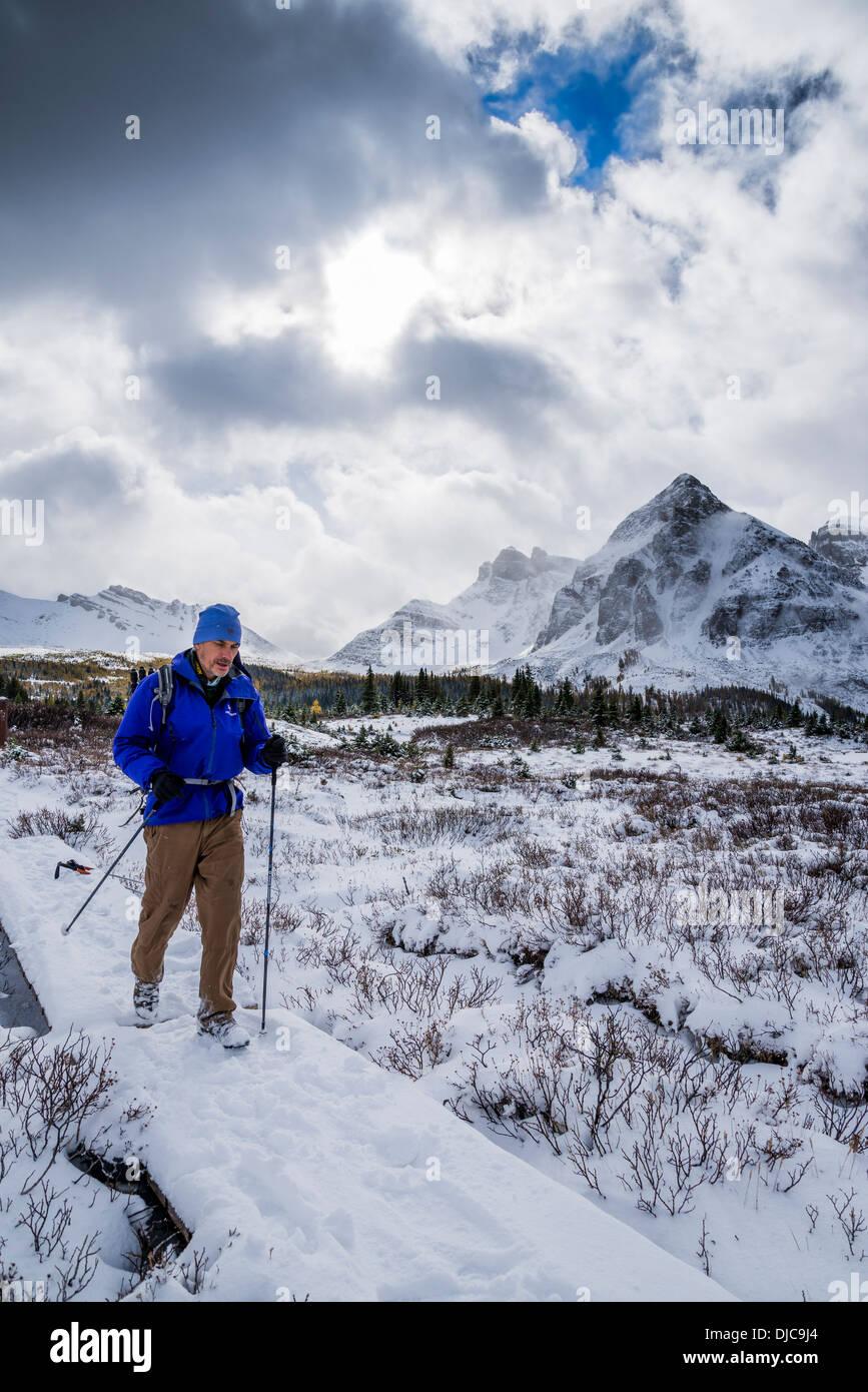 Hiker in winter, Mount Assiniboine Provincial Park, British Columbia, Canada Stock Photo