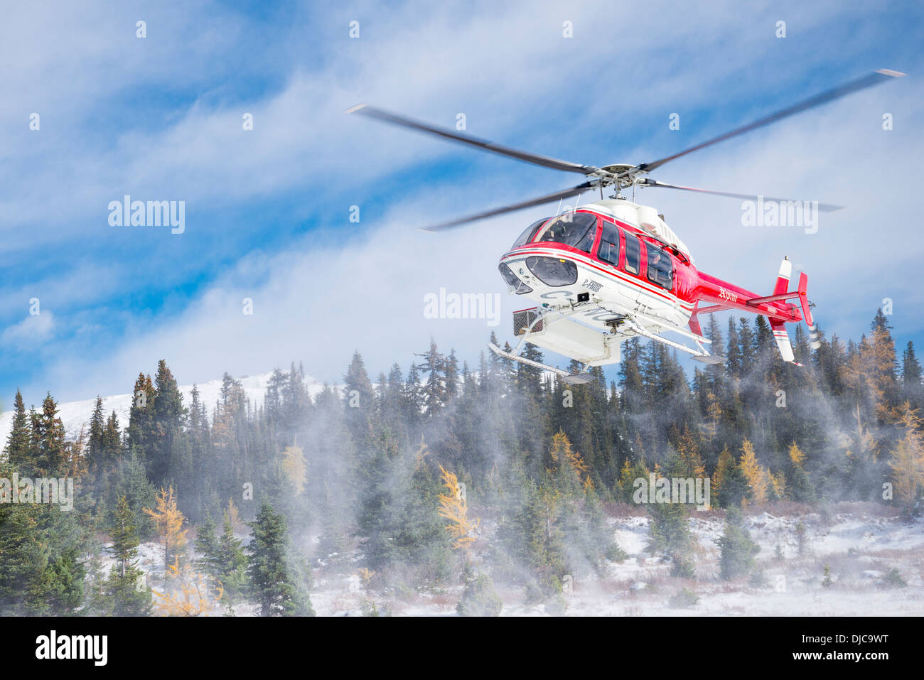 Helicopter landing in winter - Stock Image
