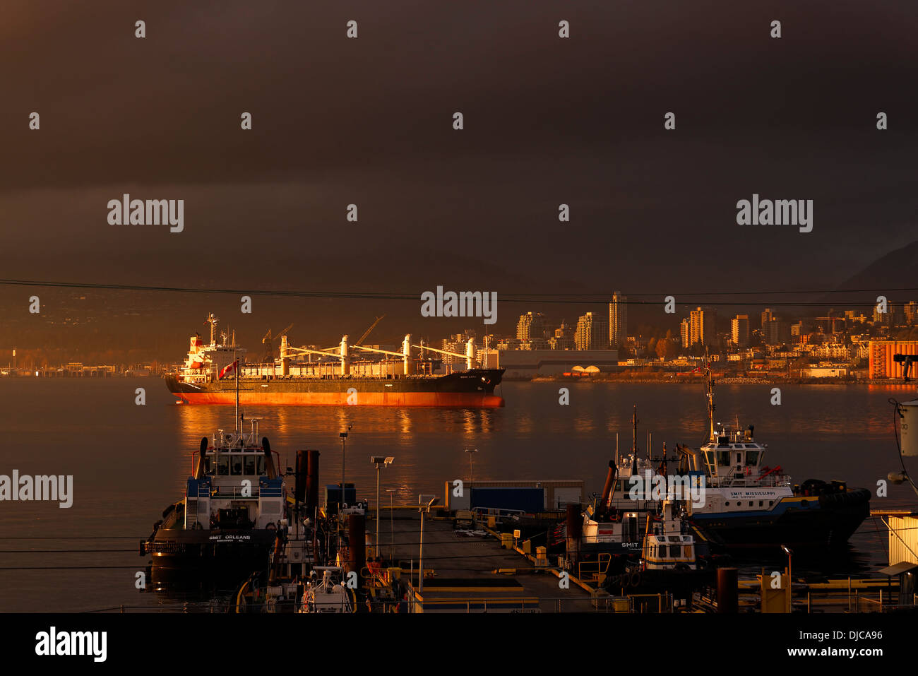 Bulk Carrier, Voge Lena in Vancouver Harbour, Vancouver, British Columbia. Canada - Stock Image