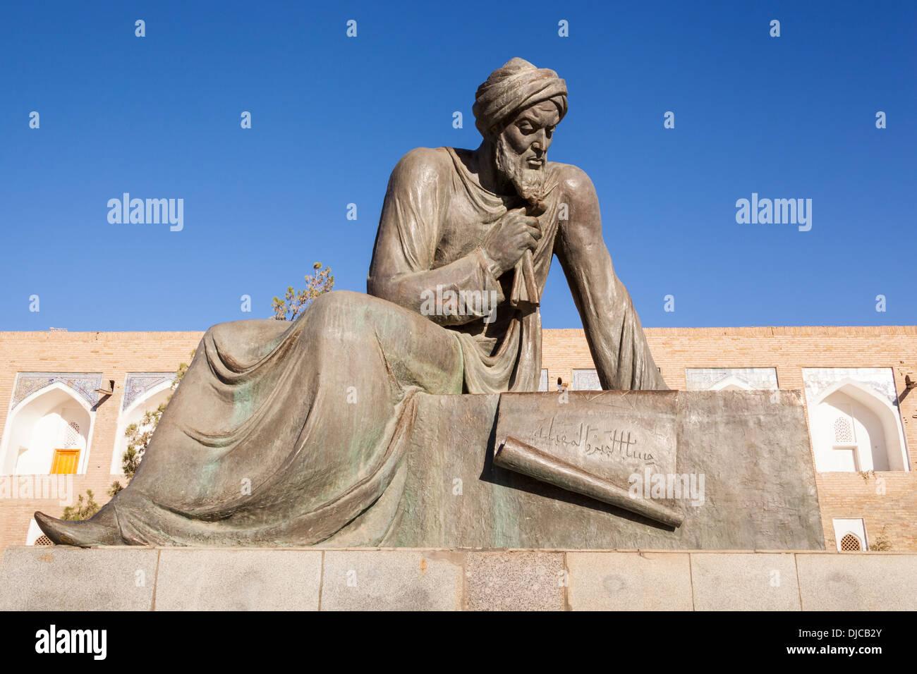 Statue of Al Khwarizmi, a ninth century mathematician, Ichan Kala, Khiva, Uzbekistan - Stock Image