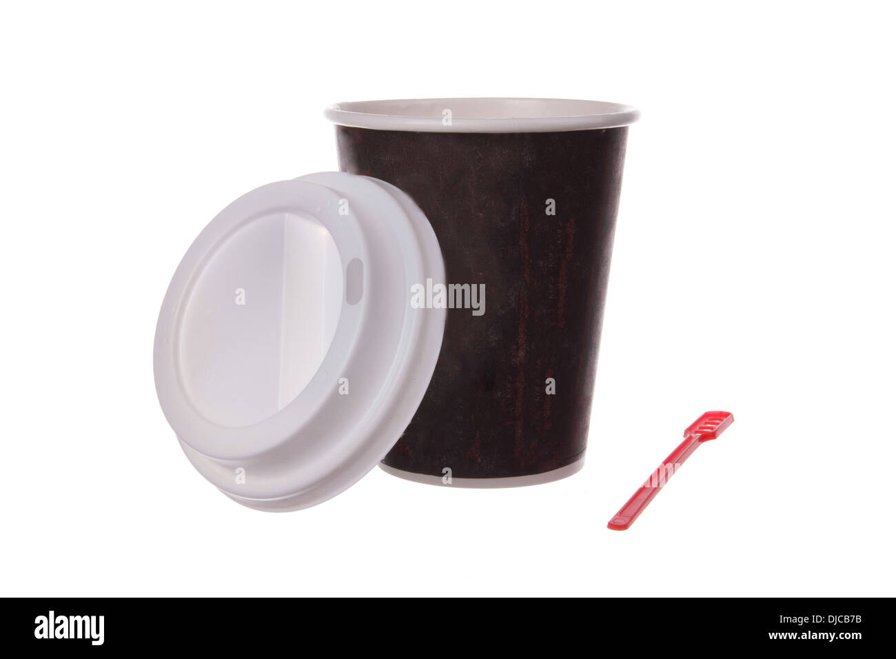 cup of coffee with scoop to go - Stock Image