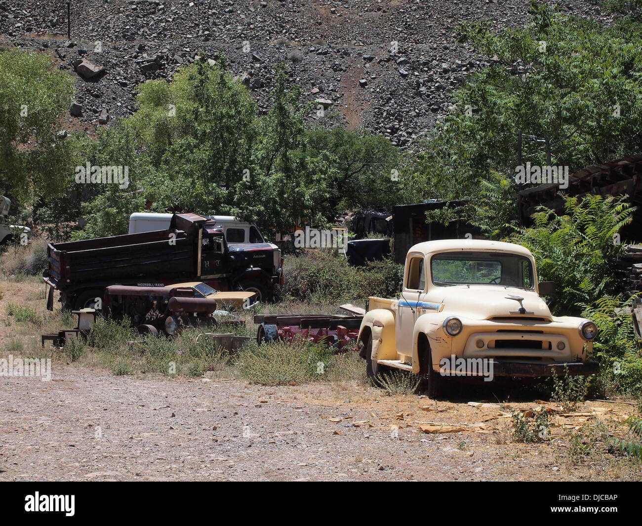 Antique trucks and cars in the junkyard at Gold King Mine outdoor ...
