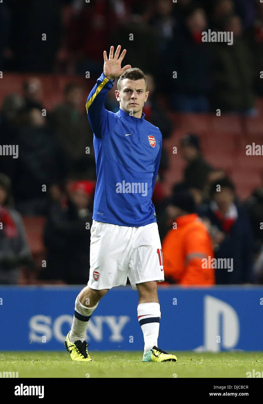 London, UK. 26th Nov, 2013. ( Jack Wilshere of Arsenal greets the spectators after the UEFA Champions League Group F match between Arsenal and Marseille at Emirates Stadium in London, Britain on Nov. 26, 2013. Arsenal won 2-0 Credit:  Xinhua/Alamy Live News - Stock Image