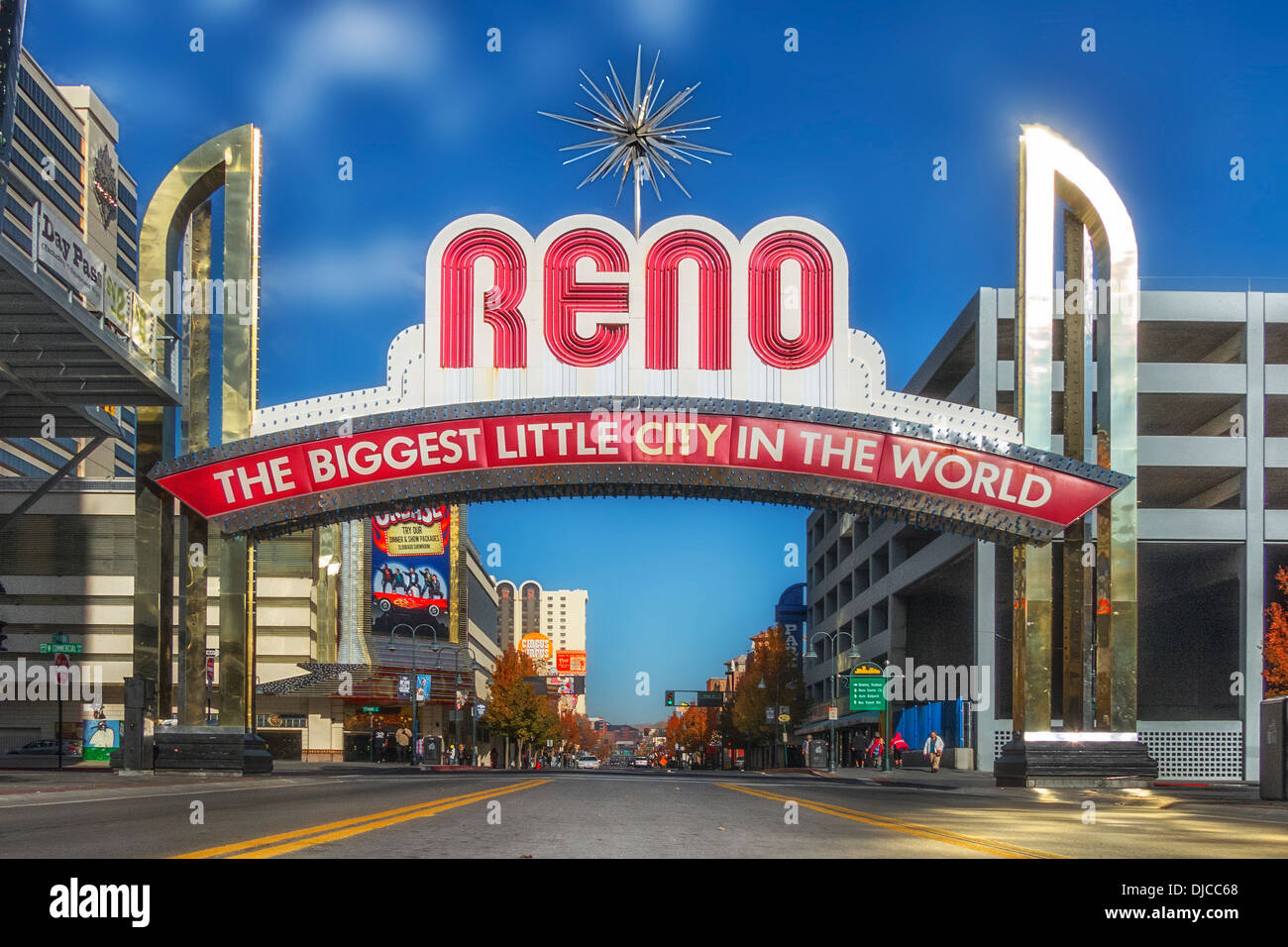 straight on view  of the RENO the biggest little city in the world an iconic sign in Reno Nevada - Stock Image