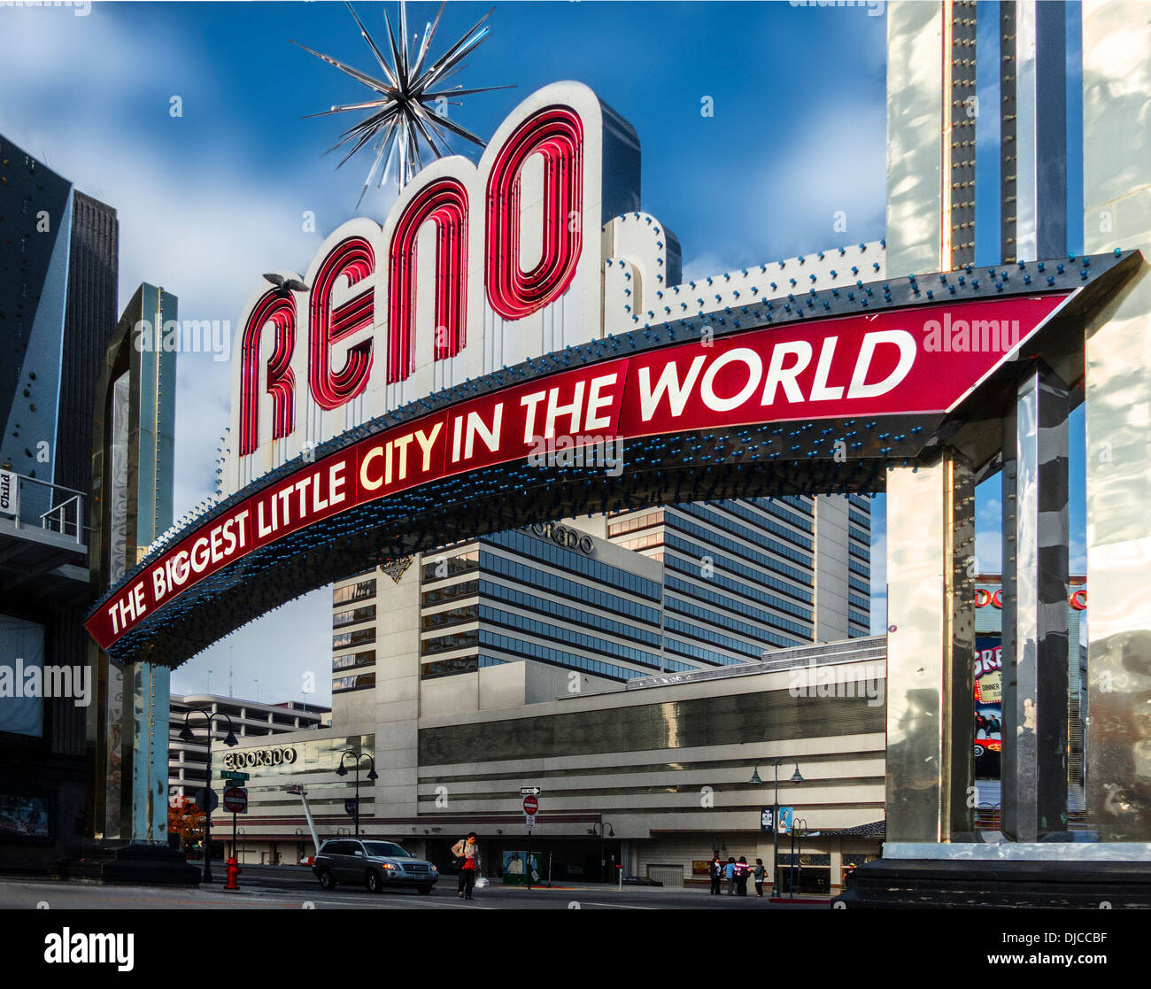 A daytime front on three quarter view of the RENO the biggest little city in the world sign,in Reno Nevada - Stock Image