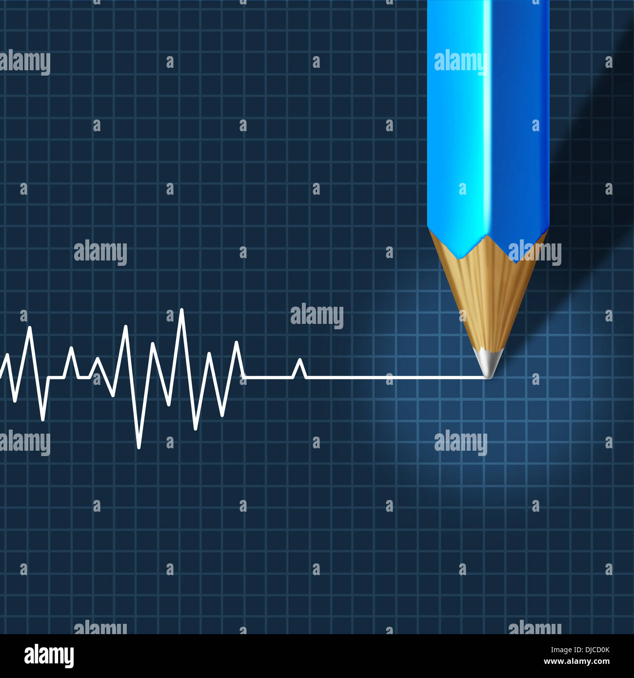 Euthanasia Medical Intervention as a medical health care concept of doctor social dilemma in end of life termination as a pencil drawing an ecg or ekg flatline on a monitor graph. - Stock Image