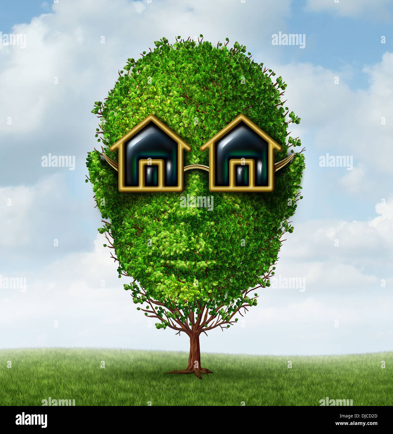 Real Estate Planning Concept As A Green Tree Shaped As A Human Head