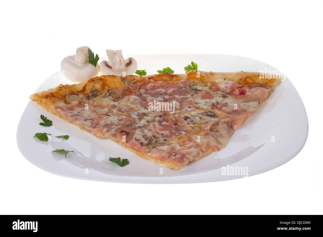 pizza hut slice on white plate with mushrooms and parsley - Stock Image