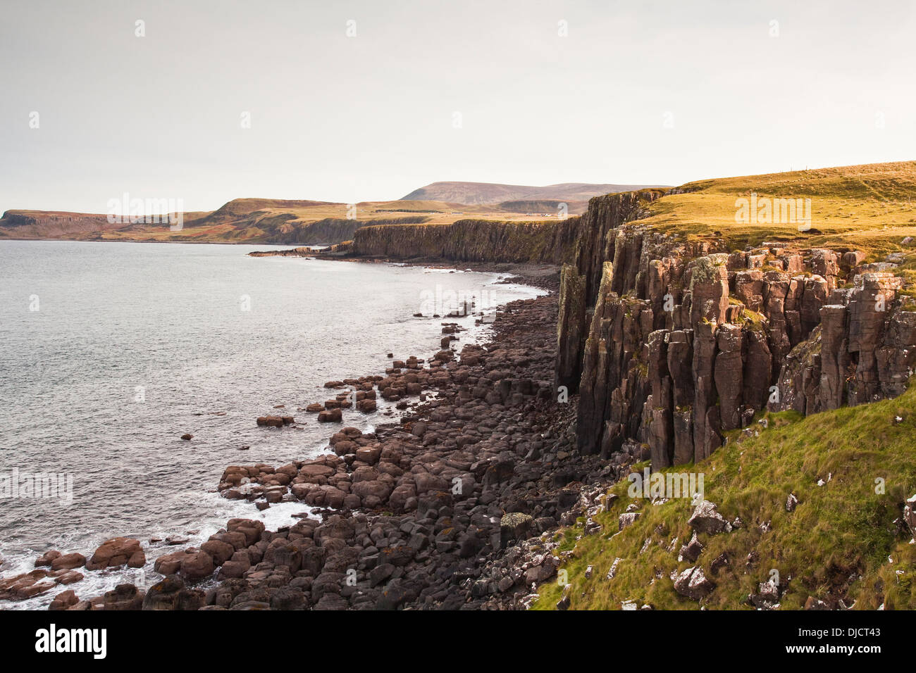 Basalt rocks formations on the north-west coast of the Isle of Skye. - Stock Image