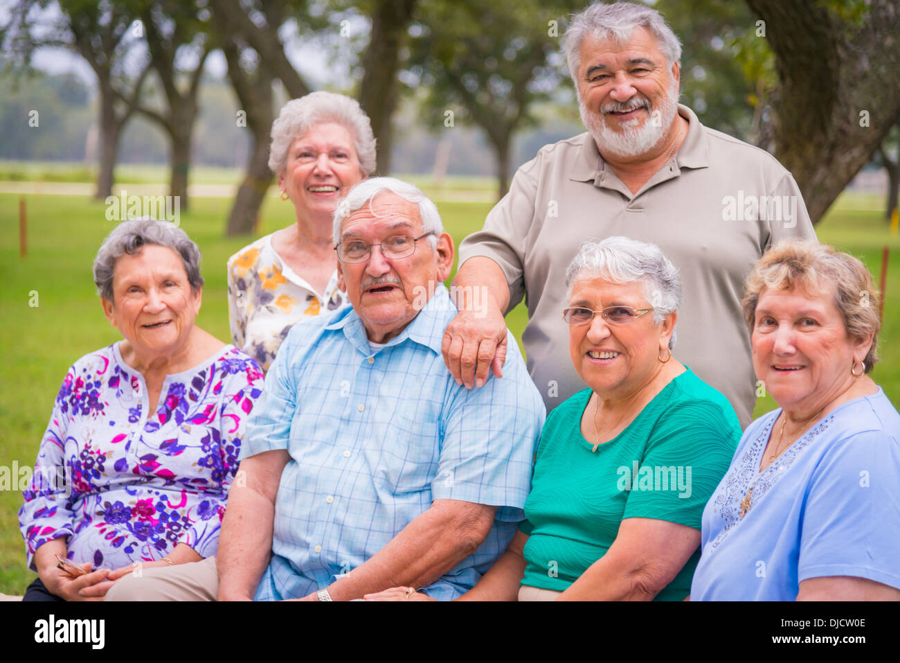 USA, Texas, Group foto of senior citizens at reunion meeting - Stock Image