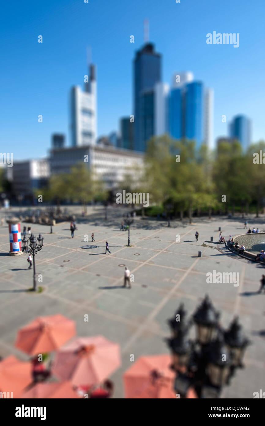 Germany, Hesse, Frankfurt, Tilt-shift view of Opera Square - Stock Image