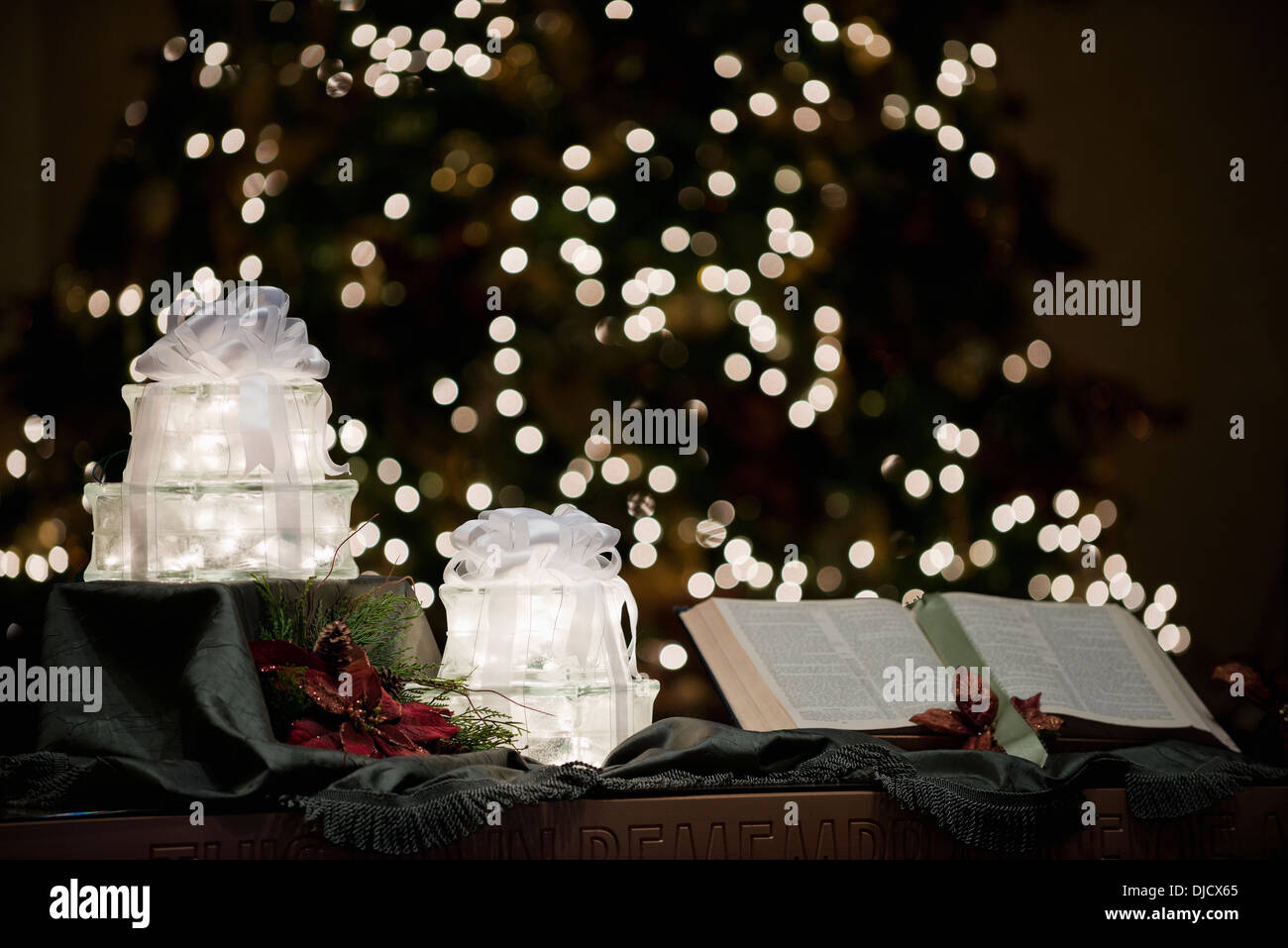 holy bible in front of a christmas tree stock photo 31993829 alamy