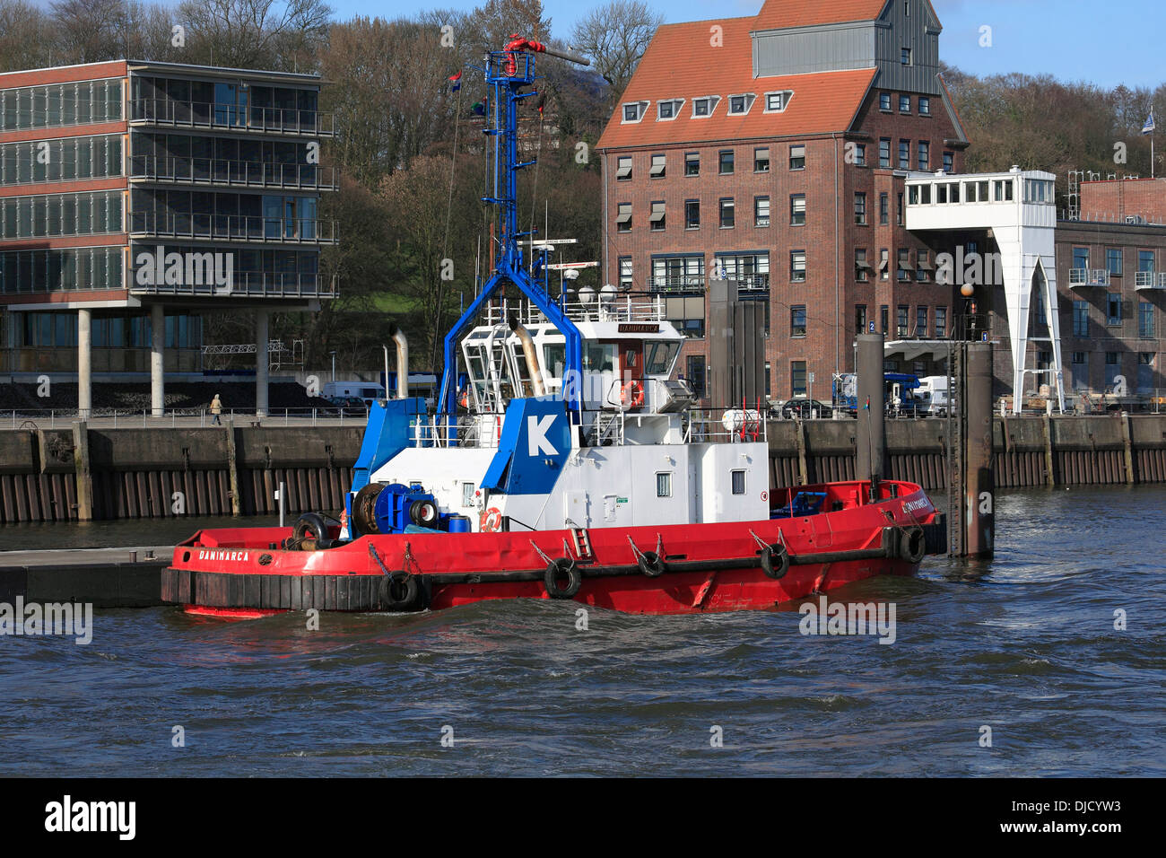 harbor tug at the port of Hamburg, Germany - Stock Image