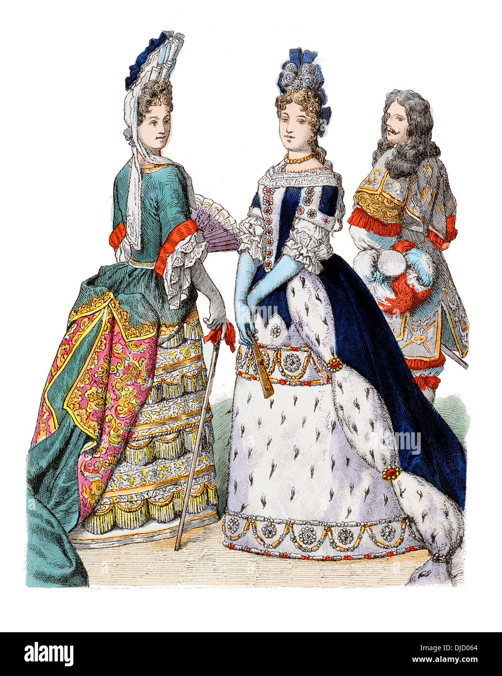 Late 17th century XVII 1600s (Left to right) English Duchess of Portsmouth, Bavaria Maria Anna and a Bavarian palace Guard - Stock Image