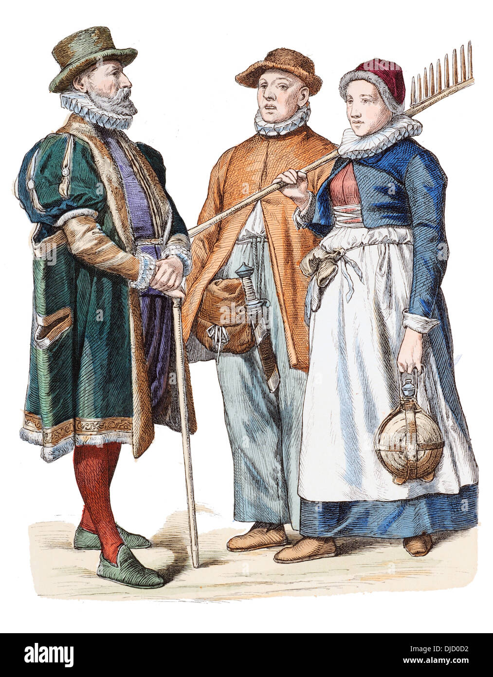 Late 16th Century XVI 1500s German Costumes (Left to right) Merchant of Rostock and peasants of Rostock - Stock Image