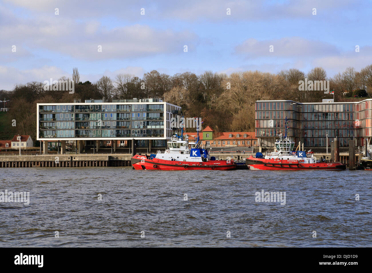 harbor tugs at the port of Hamburg, Germany - Stock Image