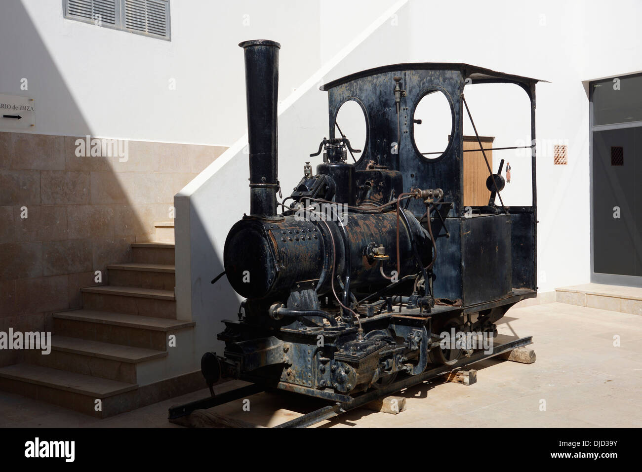 historic steam locomotive, used for agriculture, sant francesc de formentera, formentera, spain Stock Photo