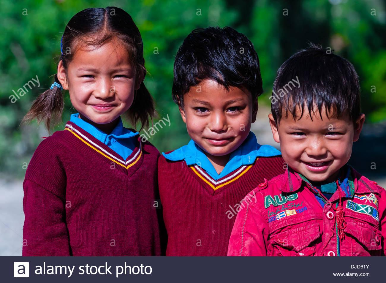 School children; Ladakh, Jammu and Kashmir State, India. - Stock Image