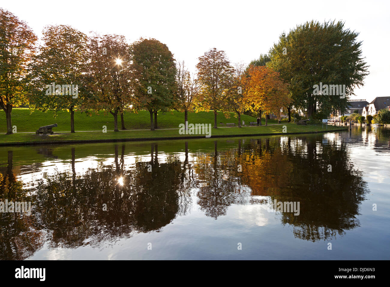 Ankerpark with historical canon in Leiden, The Netherlands - Stock Image