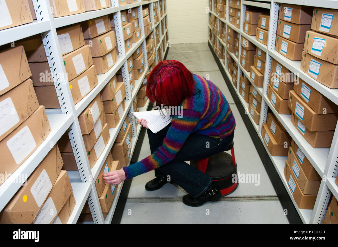 Archivist looks through neat boxes stacked in organised rows of shelves in a temperature-controlled basement room at Dudley Archives - Stock Image