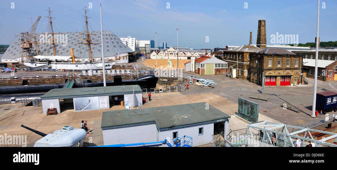 Chatham, Kent, England. Chatham Historic Dockyard, seen from HMS Cavalier (stitched panorama) - Stock Image