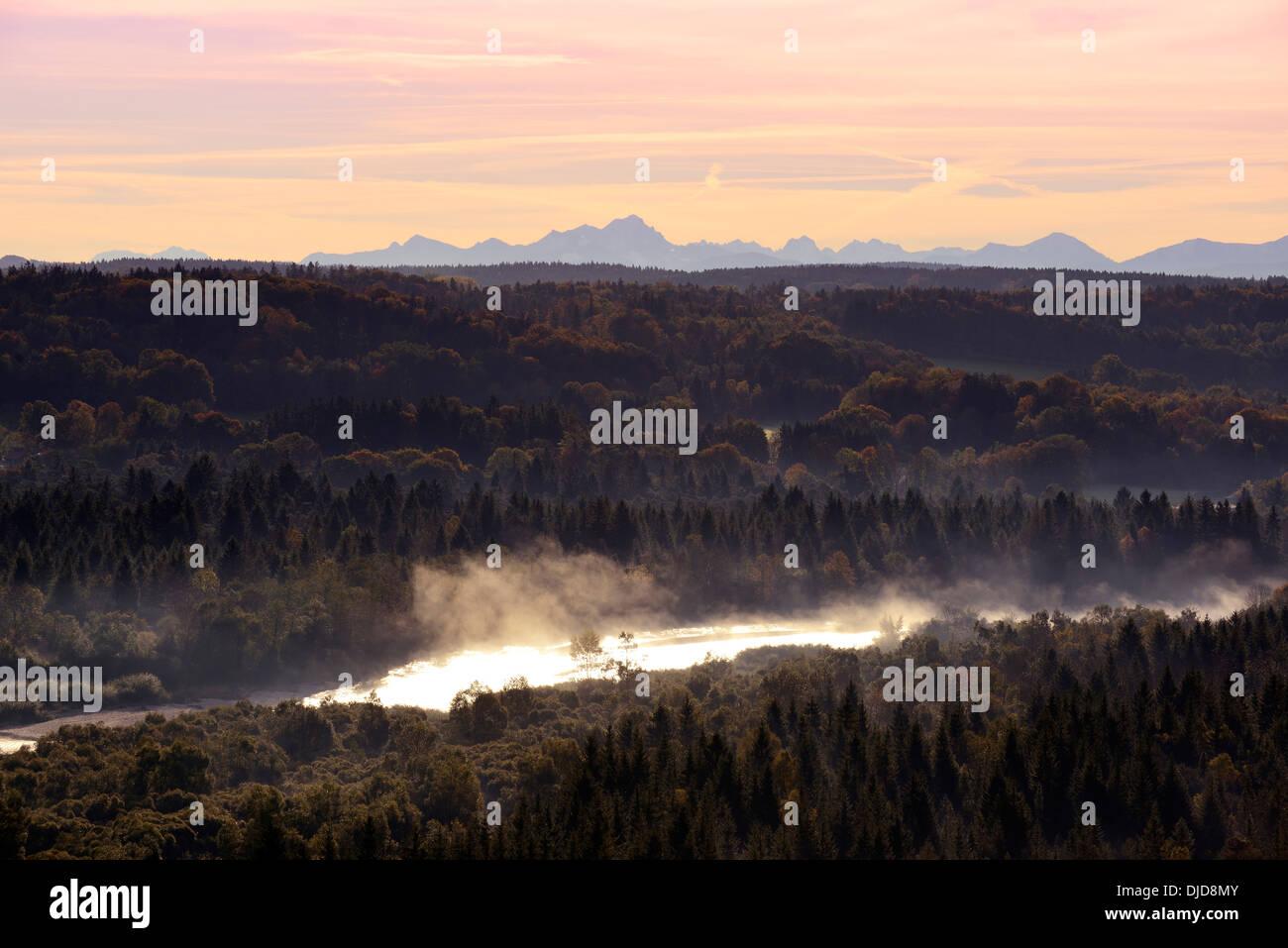 Germany, Bavaria, Isar in morning fog, Pupplinger Au - Stock Image