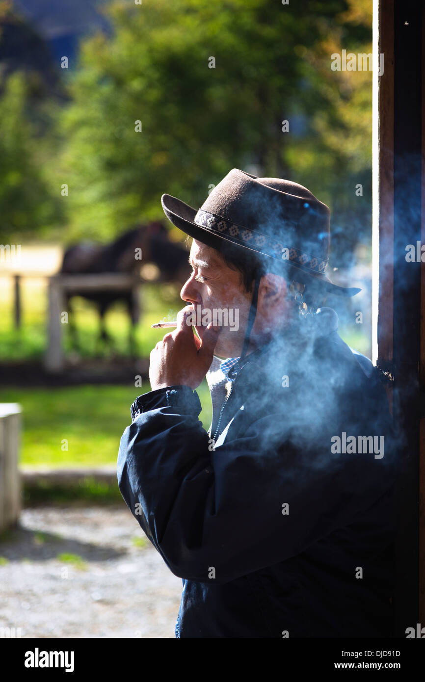 Gaucho smoking a cigarette.Patagonia.Chile - Stock Image