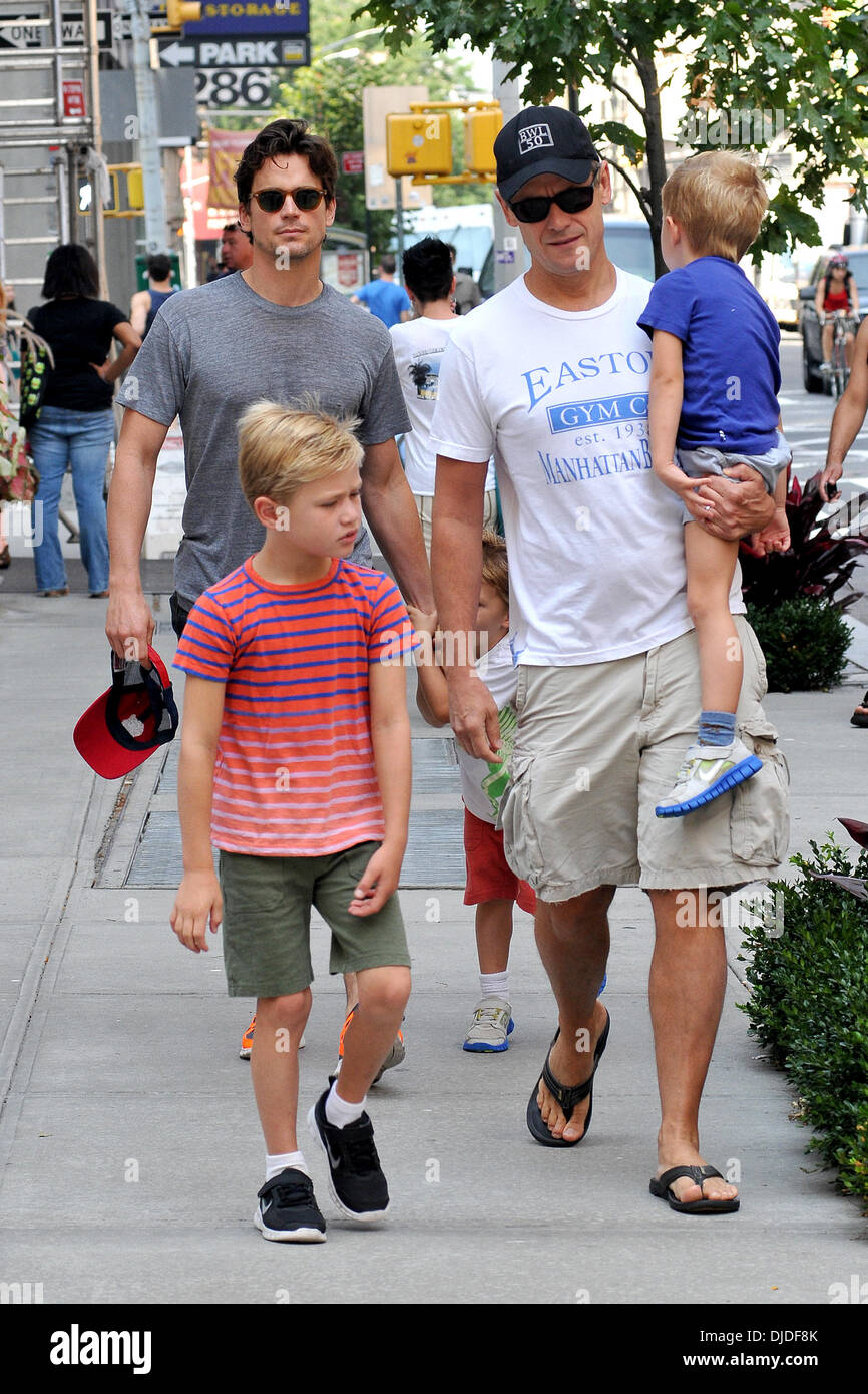Matt Bomer, Simon Halls and sons Kit, Walker and Henry Matt Bomer and partner out and about with their three sons New York City, USA - 02.08.12 Stock Photo