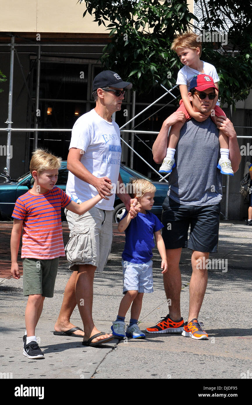 Simon Halls, Matt Bomer and sons Kit, Walker and Henry Matt Bomer and partner out and about with their three sons New York City, USA - 02.08.12 Stock Photo