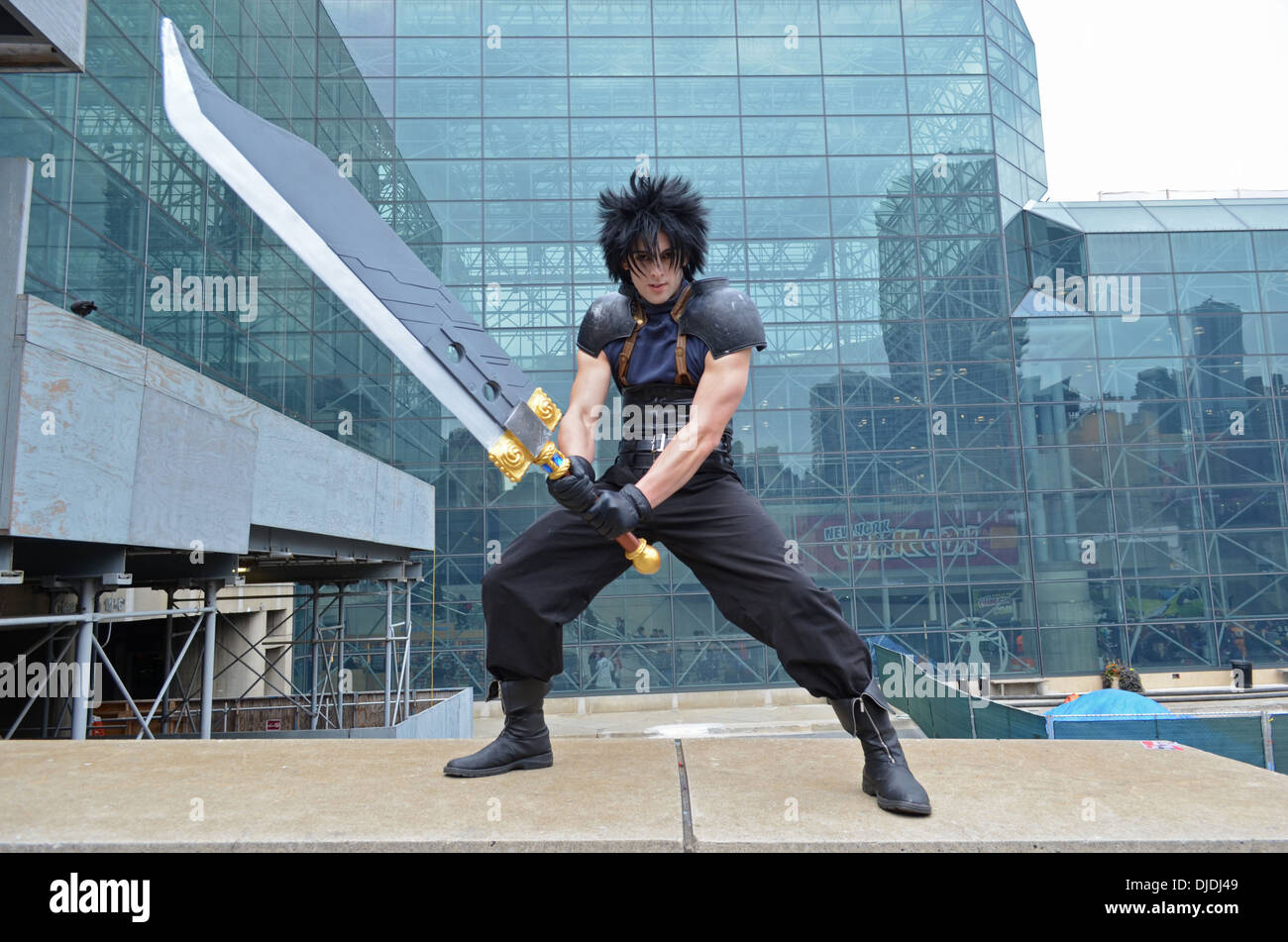 Comic Con NYC 2012 attendee  dressed as Zack Fair, a character from the video game Final Thunder - Stock Image