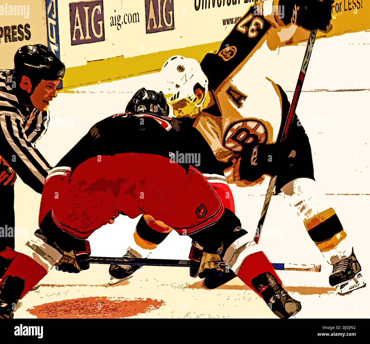 Faceoff in a NHL hockey game between the New York Rangers and the Boston Bruins in New York recolored in Photoshop. - Stock Image