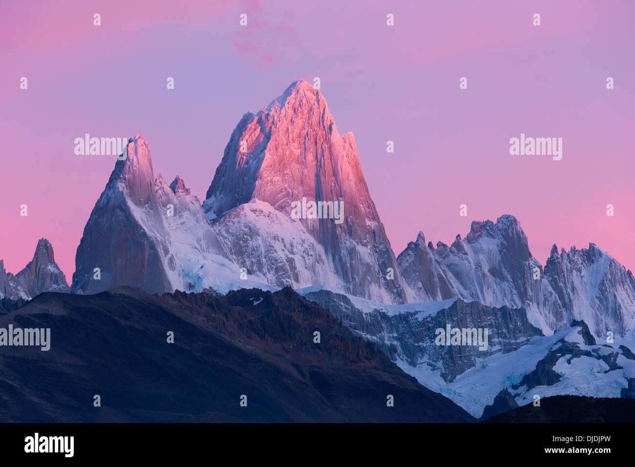 Pink sky around Fitz Roy Massif.Pategonia.Argentina - Stock Image