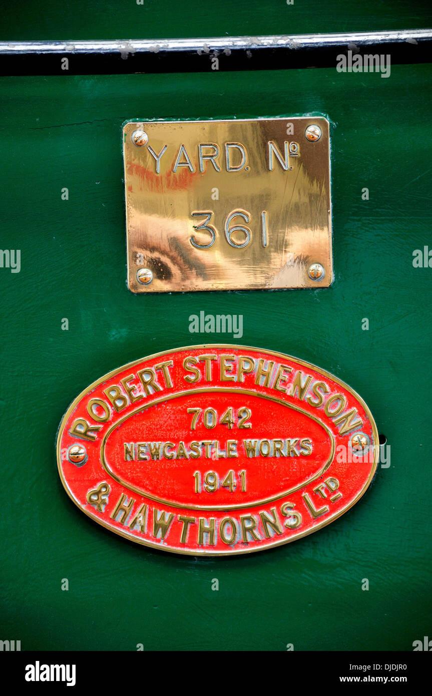 Chatham, Kent, England. Chatham Historic Dockyard. Robert Stephenson & Hawthorns Ltd plate on locomotive 'Ajax' - Stock Image