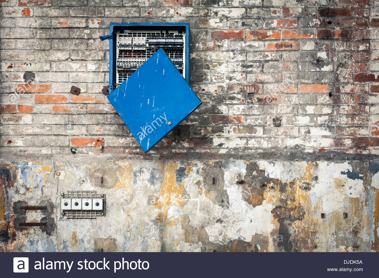 Circuit Breaker Panel Stock Photos Panels Broken Electric Distribution Board On The Outside Of A Building