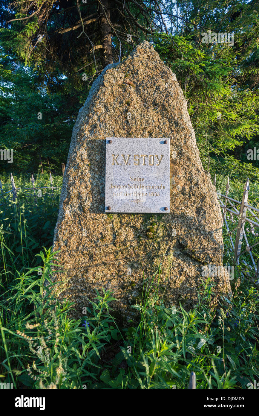 Commemorative rock to the founder of the field day for schools, Karl Volkmar Stoy, school field day from Jena to Mt Inselsberg - Stock Image