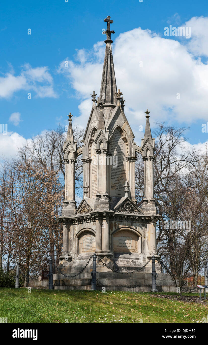 Monument to the Battle of Langensalza, Austro-Prussian War, 1866, built 1868, Bad Langensalza, Thuringia, Germany - Stock Image
