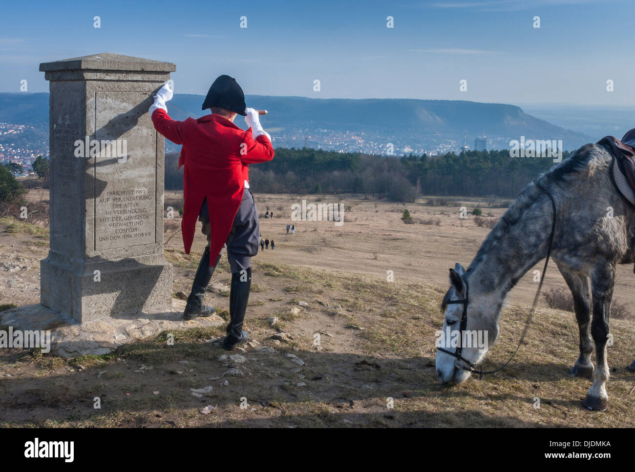 Napoleon with a telescope and horse next to his monument, pantomime Harald Seime, Battle of Jena–Auerstedt in 1806 - Stock Image