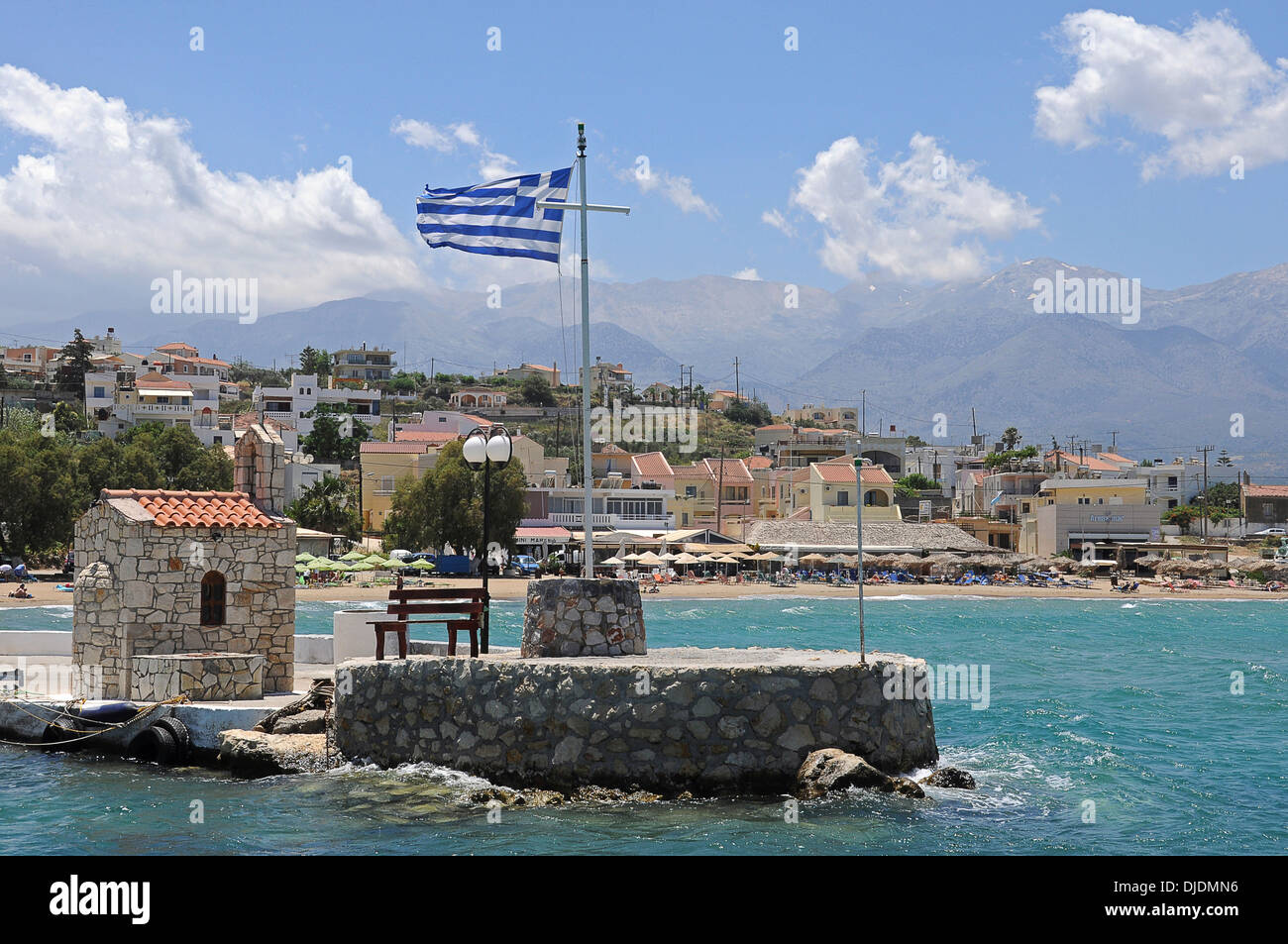 Harbour of Marathi with a small chapel, Souda Bay, Crete, Greece Stock Photo
